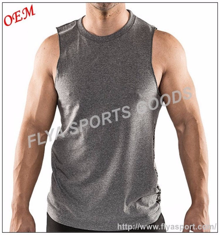Mens workout vest fitness spier gym tank top mouwloze tee