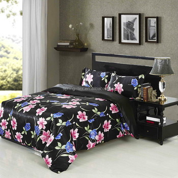 100% Polyester 3d Faux Silk Bedding Set/black Satin Bedspread/flower Design  Bed
