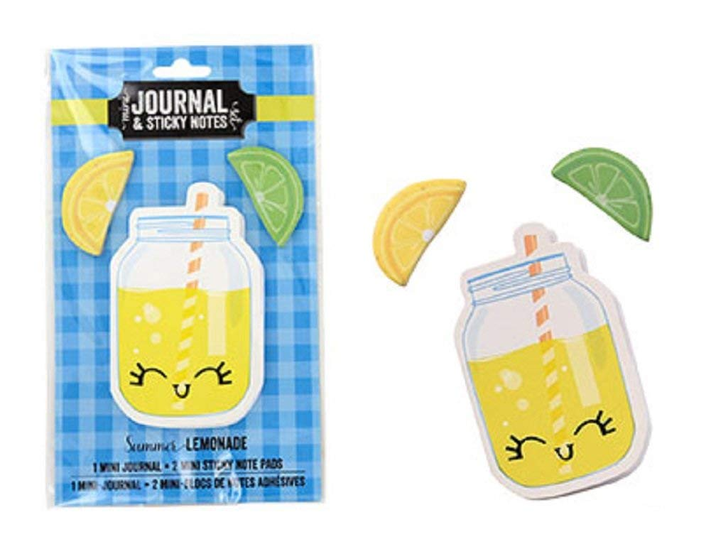 Lemonade and Lemons Mini Journal & Sticky Notes Set (Memo Pad Notepad Organize Lists School Work Home) Kawaii Cute Cool