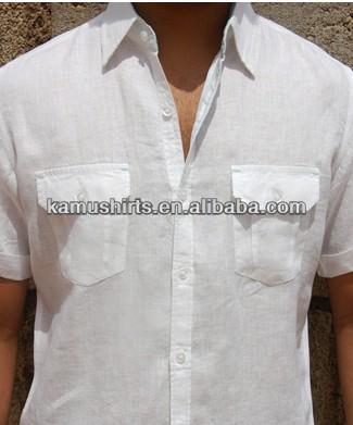 cfd94ff960 Hombre blanco de manga corta de lino camisas de lino dos bolsillos camisa  casual