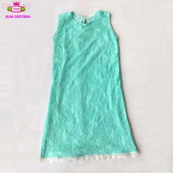 Girls party dresses kids party wear mint sleeveless lace trim princess dresses for girls 1 to 6 years