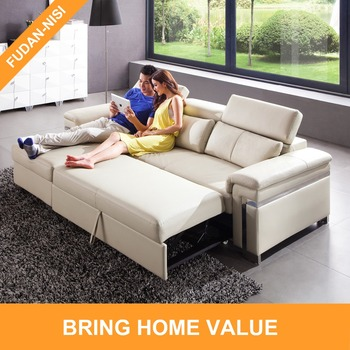 Genuine Leather L Shaped Pull Out Sofa