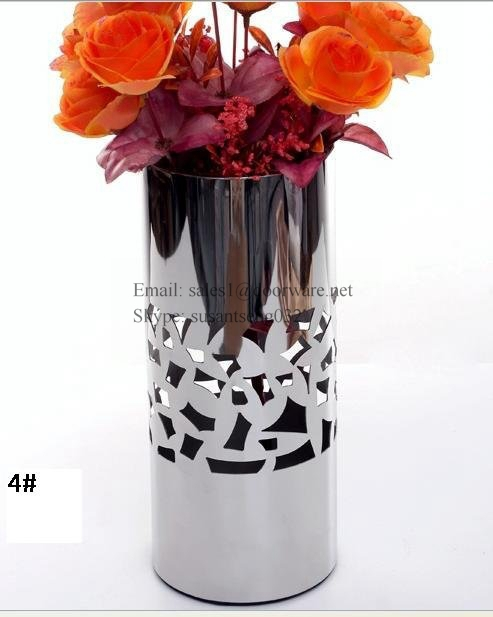 Metal Flower Tall Vase Home Decor Decoration Stainless Steel Large Vase For Wedding