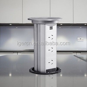 motorised Auto pop up power tower for kitchen HGZN-TS and modern office desk /Smart Extension Socket 16A 3 Power Plugs 2 USB