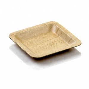 biodegradable decorative cheap disposable palm leaf round plates for bar use