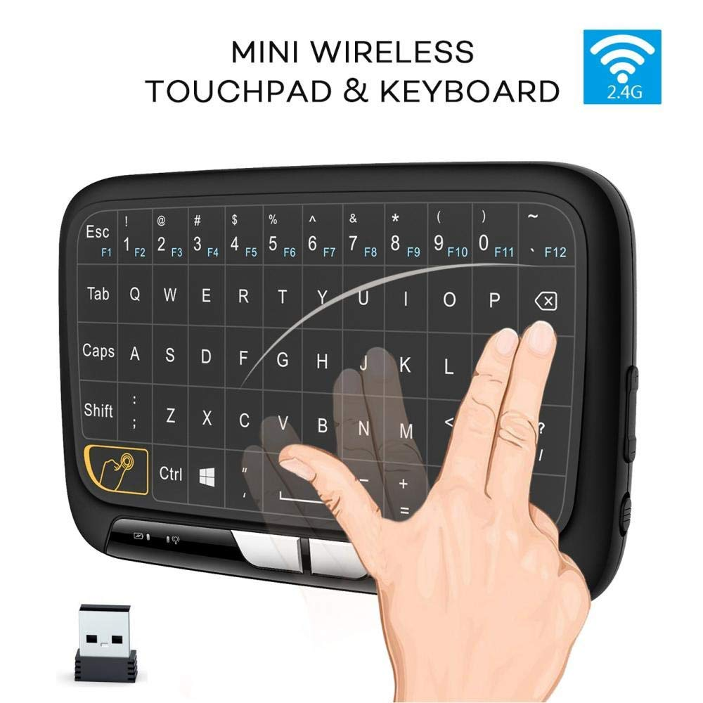 Zerone 2.4GHZ Chargable Mini Wireless Keyboard, Full Screen Mouse Touchpad Combo,Multi-Touch Control Keyboard PC Laptop Pad