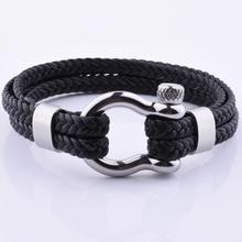 해양 Men Shiny Silver Bronze Clasp Genuine Leather Bracelet Jewelry 만들기
