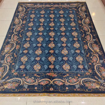 Aubusson Style Hand Knotted New Zealand Wool Area Rug With Fringe