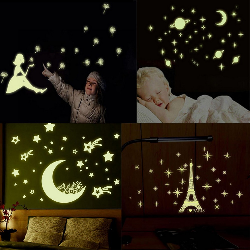Bedroom Nursery Ceiling Fun Glow Night Dark Wall Stickers