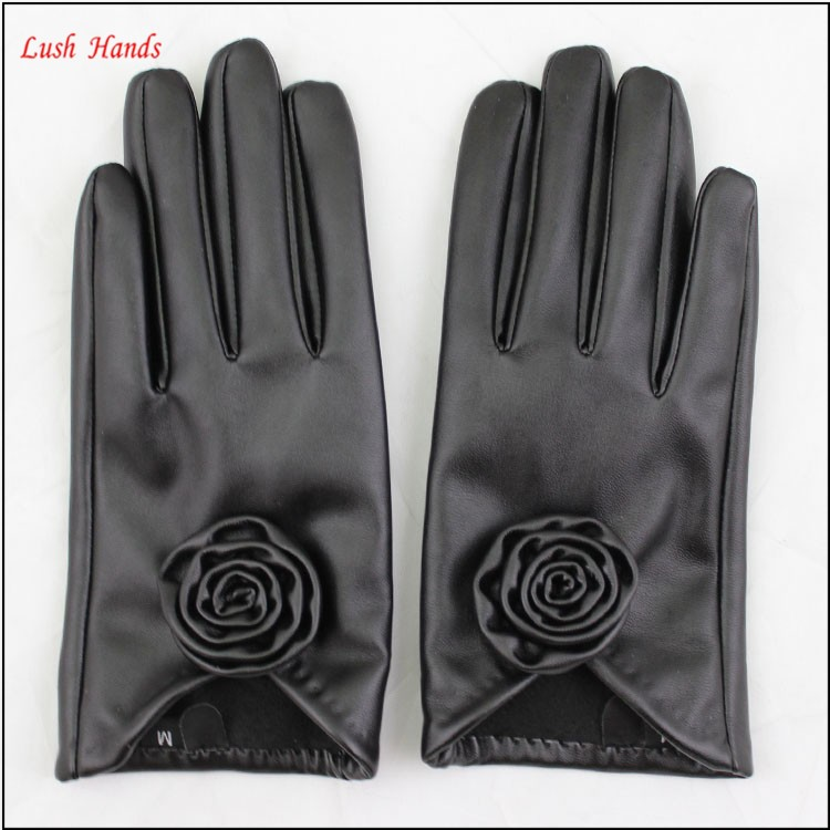 2016 spring / summer new black leather women's dress gloves