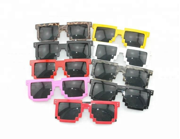 2018 Hot Sales Geek Adult Assorted Color Pixel Promotional Sunglasses