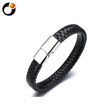 XHT Fashion Women Bangle silver Stainless Steel Genuine Leather Bracelet jewelry
