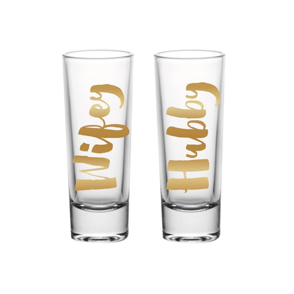 Hubby Wifey Shot Glass Set - 2 oz Each, Gold Foil Print