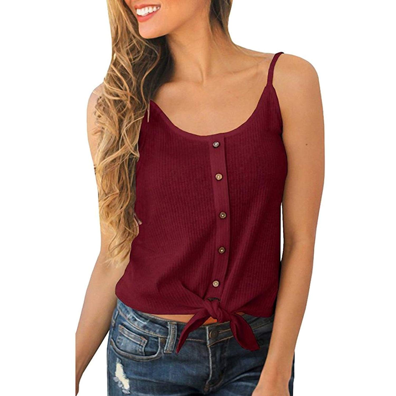 b33f4314a4b24 BCDshop Women Button Sleeveless Solid Cami Top Tank Shirt Casual Bandage  Blouse Vest