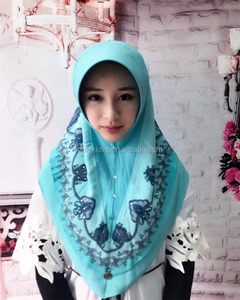2017 new designs muslim embroidery hijab islamic chiffon print scarf assorted colors HW230