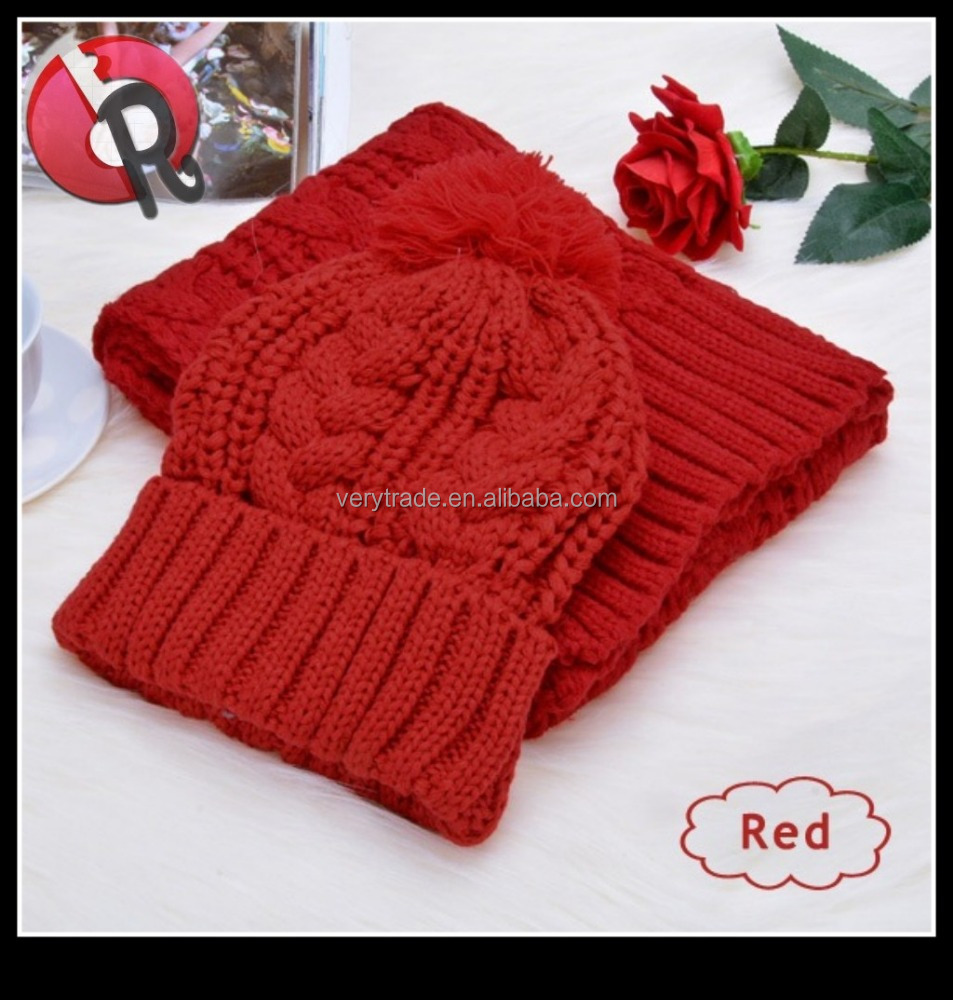 Red Winter Warm Knitting Hats Wool Baggy Slouchy Beanie Hat Skull Cap