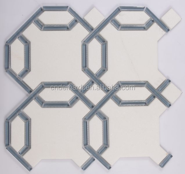 carrara polished tile white and gray square mixed waterjet marble mosaic US $120-125 / Square Meter