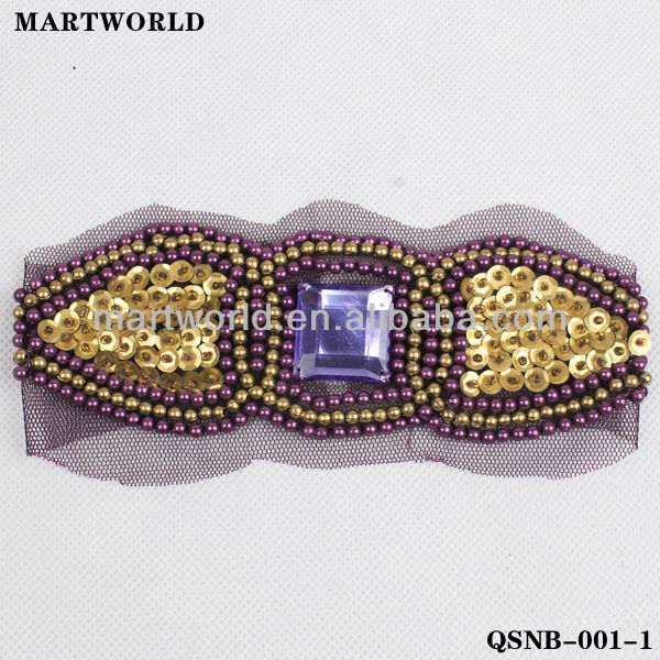 Indian women fashionable sequin and beaded waist belt(QSNB-001)