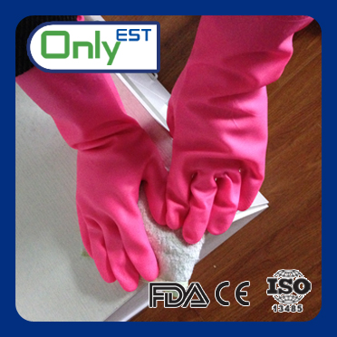 Cleaning long arm colored different size pvc household gloves