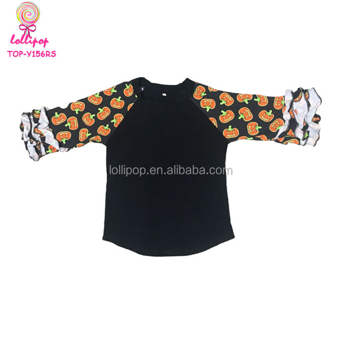Halloween Baby Cotton Icing Ruffle Shirt Autumn Girls Kids Black Body And Orange Pumpkin Pattern Ruffle Sleeve Raglan T Shirts