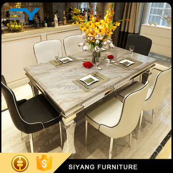Hot Sale Morden Style Marble Mdf Dining Table Sets For 6 Seater Ct004 Buy Modern Travertine Marble Dining Table Morden Style Marble Mdf Dining Table Narble Top Dining Table Product On Alibaba Com
