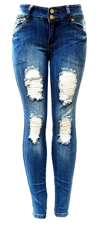 9c11f13d452 Get Quotations · Jack David Womens Distressed Denim Jeans Ripped Blue Skinny  Destroy Stretch Jean Pants