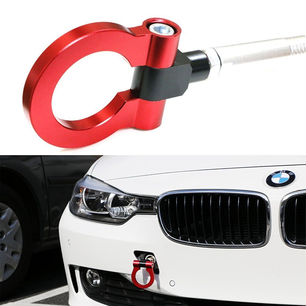 iJDMTOY (1) Anodized Red Track Racing Style Aluminum Tow Hook For BMW 1 2 3 4 5 X1 X3 X4 X5 X6 Series & MINI Cooper