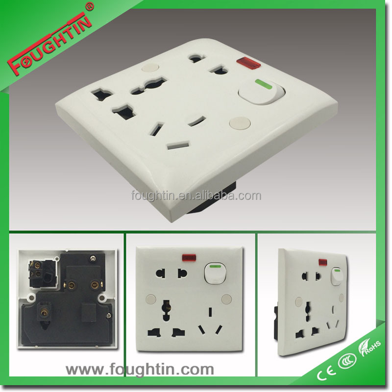 3x3 ABS 8pin multi socket 13A 250V light switch socket