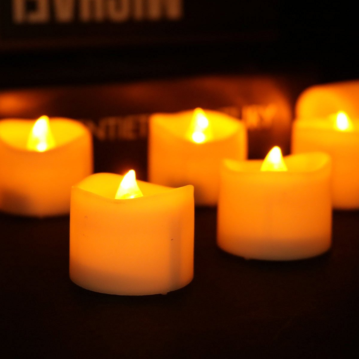 buy micandle 12pcs amber yellow led candles, flickering flash
