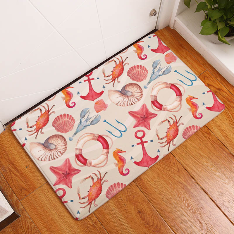 Coral Printing Flannel Carpet Hippocampus Pattern Mat For Living