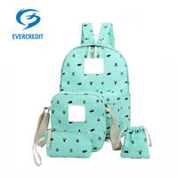 hot selling Unisex Canvas Backpack School Bag , students -four sets