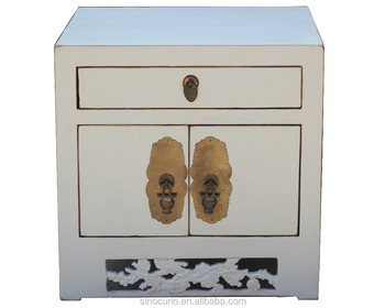 Chinese Antique Reproduction Furniture Solid Wood White Nightstand Bedside Tablemoq 1 Piece 60 00 80