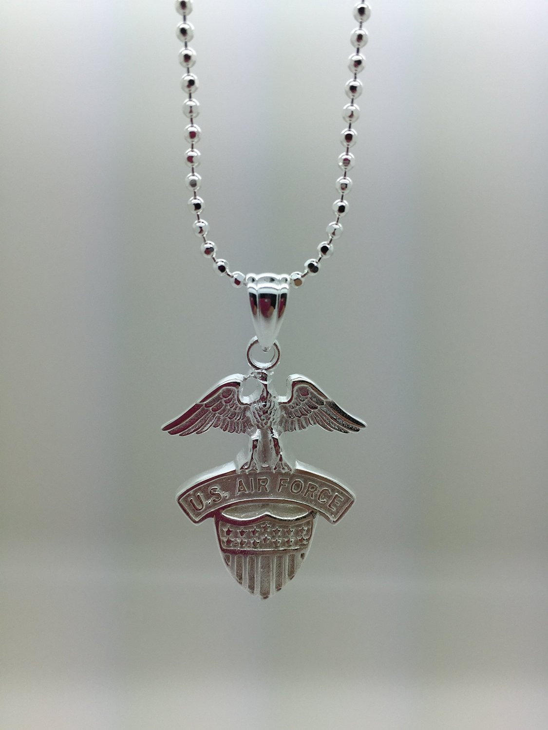 US Air Force .925 Sterling Silver Pendant For Necklace - United States Military Jewelry Pendant - USAF Charm For Chain (Silver Pendant, .925 Sterling Silver)