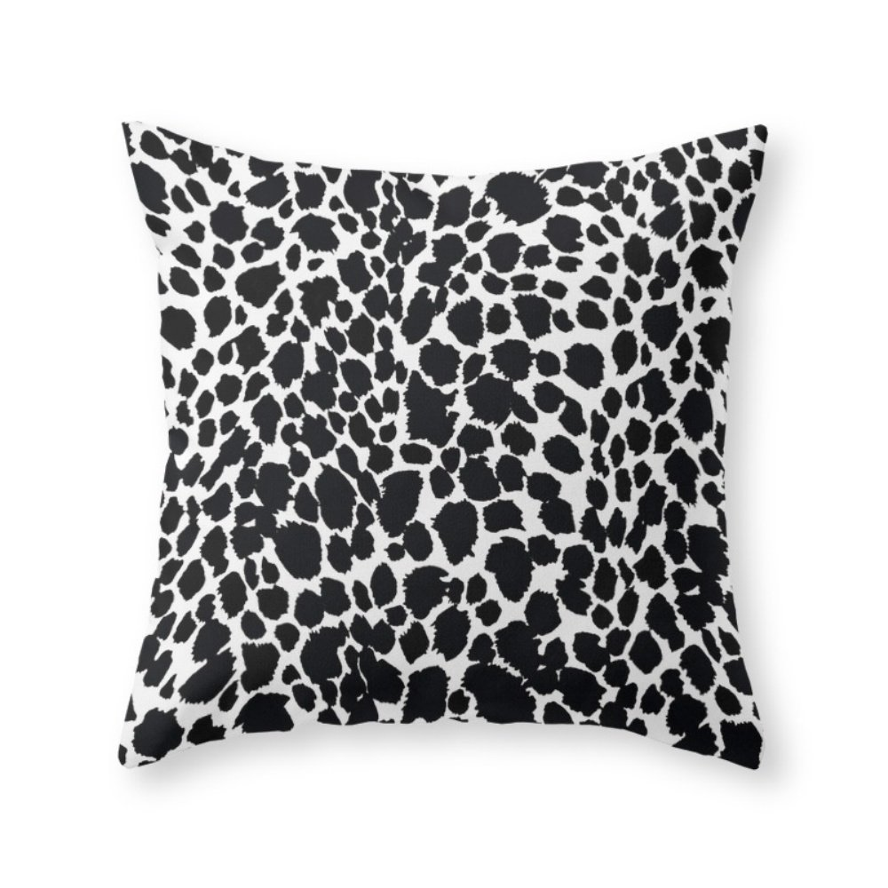 """Society6 Animal Print Cheetah Black And White Pattern #4 Throw Pillow Indoor Cover (20"""" x 20"""") with pillow insert"""