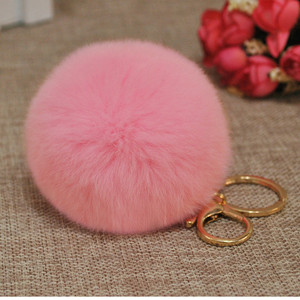 Fur Pom Poms Accessory Bag And Mobile Phone Accessory Rabbit Fur Ball Key Chain