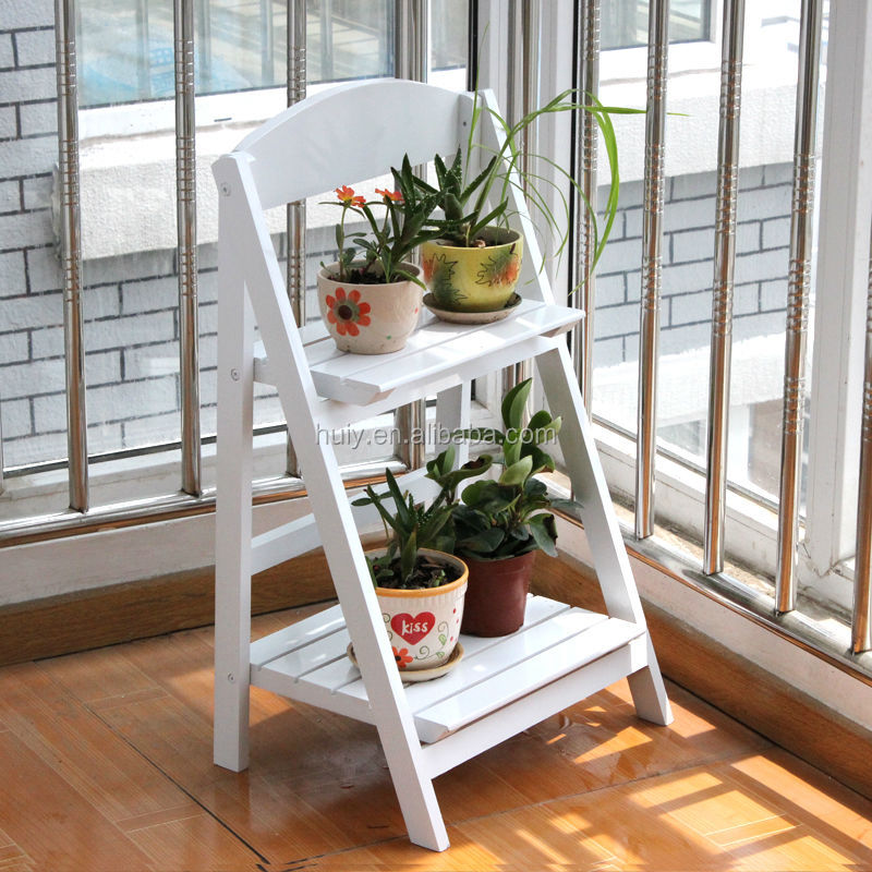 2 Tier Flower Pot Stand Wooden