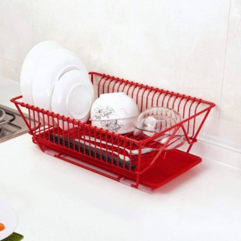TY&WJ [iron] Kitchen Plate dish drainer Sink Plate Mug holders Cutlery Storage shelf Drying rack [be applicable] Vegetables [fruit]-red