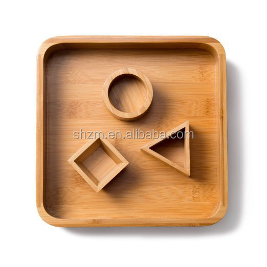 Desk Executive Sandbox Bamboo Tray with 3 Geometric Molds