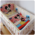 Promotion 6PCS Mickey Mouse 100 cotton baby bedding set unpick and wash bed sheets bumpers sheet
