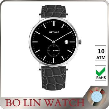 Water Resistant Quartz Watches 3 Bar Leather Wrisches Custom Chronograph