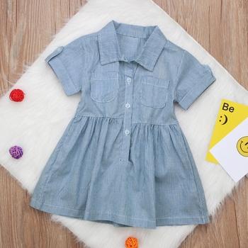 b60e8895e Summer 2018 Striped Shirt Dresses For Girls Children Cotton Turn ...