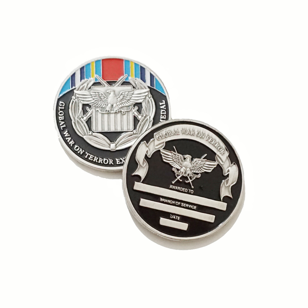 global war on terror expeditionary medal custom <strong>metal</strong> stamping black painted military challenge coins