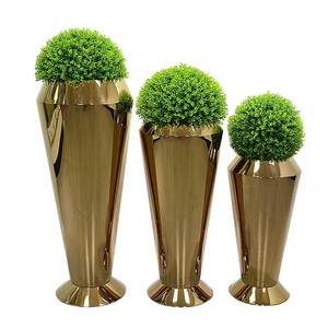 Big high quality wholesale Modern home garden metal gold flower pots vase for indoor and outdoor