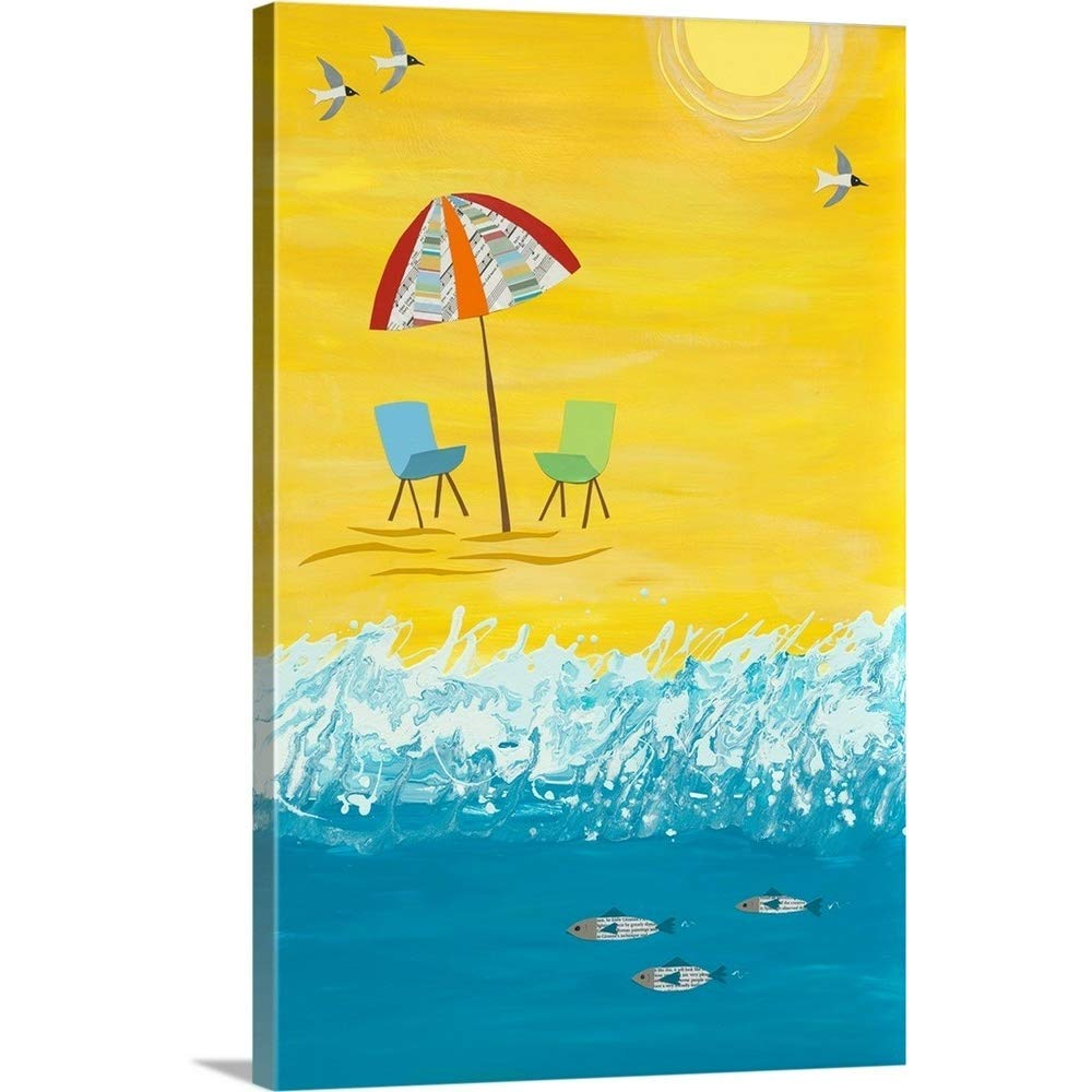 """greatBIGcanvas Gallery-Wrapped Canvas Entitled Beach Chairs Jennifer Peck 20""""x30"""""""
