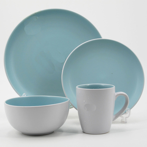 wholesale ceramic green double glazed dinnerware set