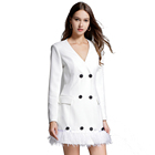 Autumn and Winter Fancy Women Fashion Outwear Gentle Lady Tassel Decoration Double Breasted White Trench