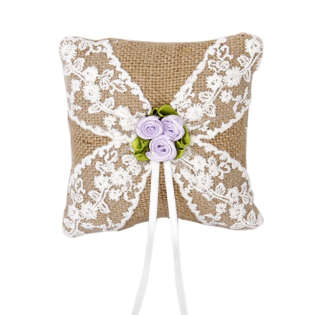 Tinksky 10*10cm Burlap Lace Flower Rustic Style Wedding Ring Bearer Pillow Cushion Wedding Favors (Brown)