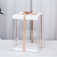 Ready to ship gold favor 10 inch three layers clear top transparent cup cake box with handle