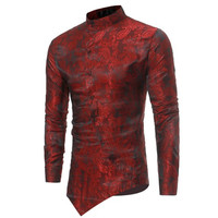 European fashion casual long sleeves slim fit casual irregular printed African style men shirt