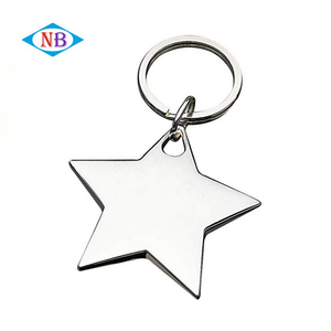 Souvenir simple blank star shape custom metal keychain
